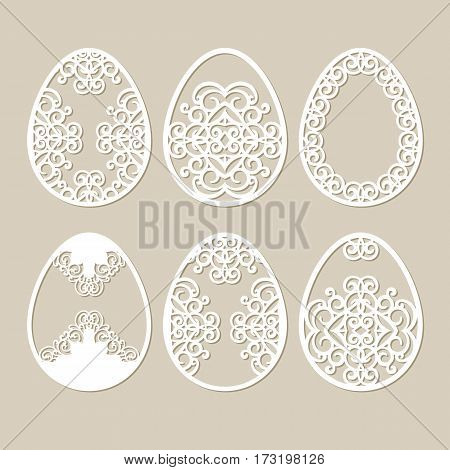 Set stencil easter eggs with carved openwork pattern. Image suitable for laser cutting. Image suitable for plotter and laser cutting or printing