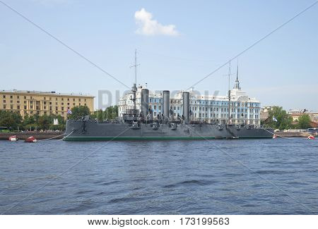SAINT PETERSBURG, RUSSIA - JULY 30, 2014: View of the cruiser Aurora. Sunny summer day. Saint Petersburg