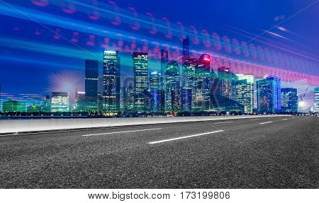 urban traffic with cityscape in shnaghai,China .