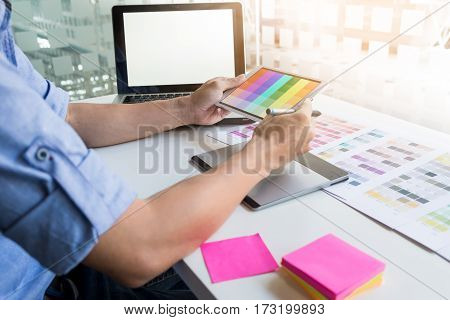 Interior Design Or Graphic Designer Renovation And Technology Concept - Woman Working With Color Sam