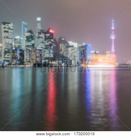 night view of the bund skyline of shanghai,china.