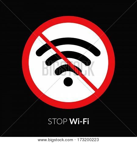 Stop wifi striker, icon, sign. Not wi-fi area symbol. Wireless Network icon. Wifi zone. Red circle connection prohibition emblem isolated on black background.
