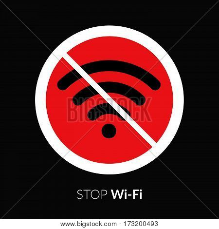 Stop wifi striker, icon, sign. Not wi-fi area symbol. Wireless Network icon. Wifi zone. White circle connection prohibition emblem isolated on black.