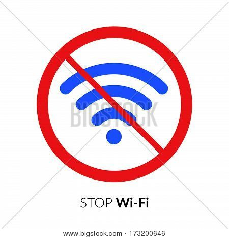 Stop wifi striker, icon, sign. Not wi-fi area symbol. Wireless Network icon. Wifi zone. Red circle connection prohibition emblem isolated on white background.