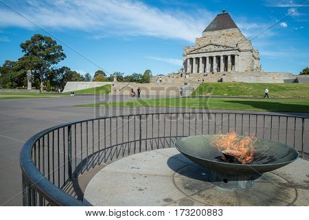Eternal flame in front of the Shrine of remembrance, Melbourne, Australia.