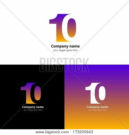 10 logo icon flat and vector design template. Monogram numbers one and aero. Logotype ten with yellow-violet gradient color. Creative vision concept logo, elements, sign, symbol for card, brand.