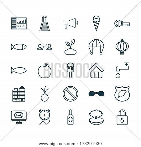 Set Of 25 Universal Editable Icons. Can Be Used For Web, Mobile And App Design. Includes Elements Such As Email, Spigot, Nectarine And More.