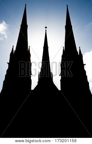 The silhouette of Saint Patrick cathedral in Melbourne, Australia.