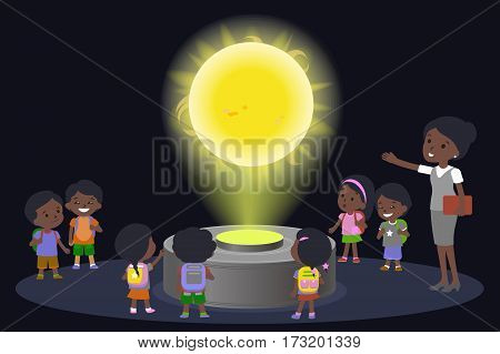Innovation education elementary school african brown skin black hair group of kids planetariun science sun. hologram on space future museum center. vector illustration.