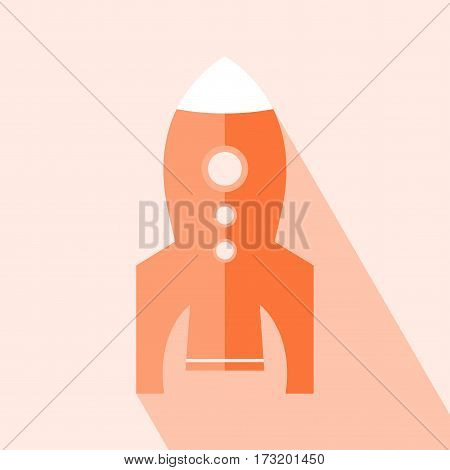 Rocket Icon Vector. Rocket icon with a long shadow conceptual of start ups or take off of a business or project. Vector illustration. Elements for design.