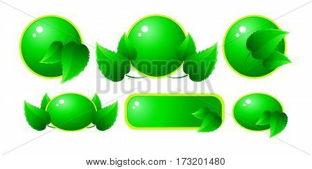Set of icons with green leaves. Vector illustration