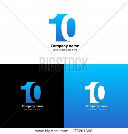 10 logo icon flat and vector design template. Monogram numbers one and zero. Logotype ten with blue gradient color. Creative vision concept logo, elements, sign, symbol for card, brand, banners.