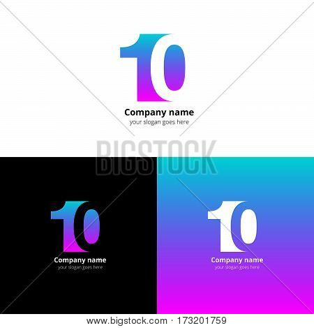 10 logo icon flat and vector design template. Monogram numbers one and zero. Logotype ten with pink-blue gradient color. Creative vision concept logo, elements, sign, symbol for card, brand.