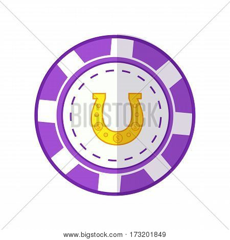 Gambling chip vector in flat style. Violet casino chip with horseshoe sign. Illustration for gambling industry, sport lottery services, icons, web pages, logo design. Isolated on white background.