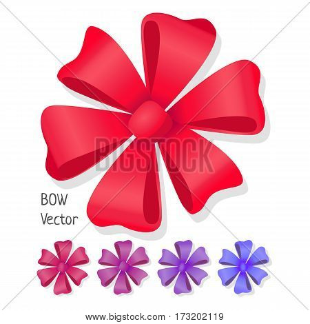 Bow vector set. Luxury flower made from ribbons. Editable element for design isolated on white. Pussy bright bow knot. Gift knot of ribbons in flat style design. Overwhelming bow. Vector cartoon illustration.
