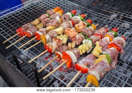 BBQ grill on the street in Thailand.