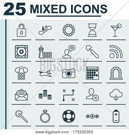 Set Of 25 Universal Editable Icons. Can Be Used For Web, Mobile And App Design. Includes Elements Such As Ban Person, Save Data, Unlock And More.