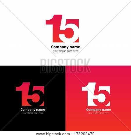 15 logo icon flat and vector design template. Monogram numbers one and five. Logotype fifteen with red-pink gradient color. Creative vision concept logo, elements, sign, symbol card, brand, banners.