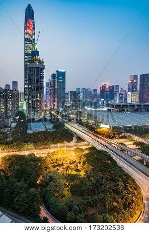 urban traffic with cityscape in Hong KongChina.