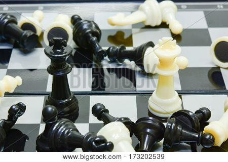 king reader black and white fight around death pawn rook bishop knight
