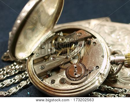 Clockwork of antique ladies silver pocket watch
