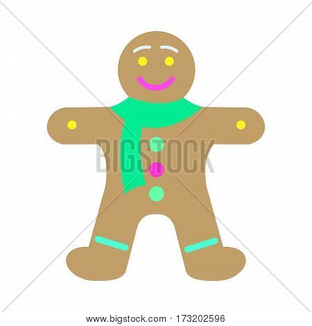 Gingerbread man decorated colored icing. Holiday cookie in shape of man. For new year s day, christmas, winter holiday, cooking, new year s eve, food, silvester. Comic illustration in 80s 90s style