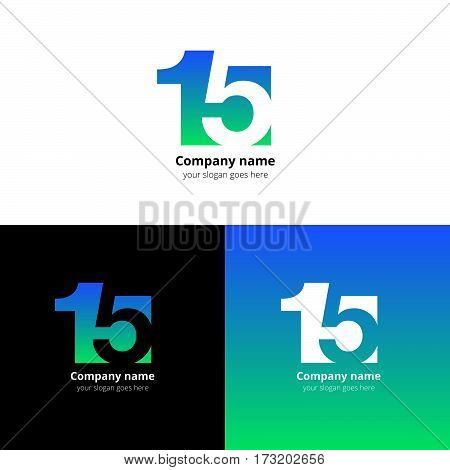 15 logo icon flat and vector design template. Monogram numbers one and five. Logotype fifteen with blue-green gradient color. Creative vision concept logo, elements, sign, symbol card, brand, banners.