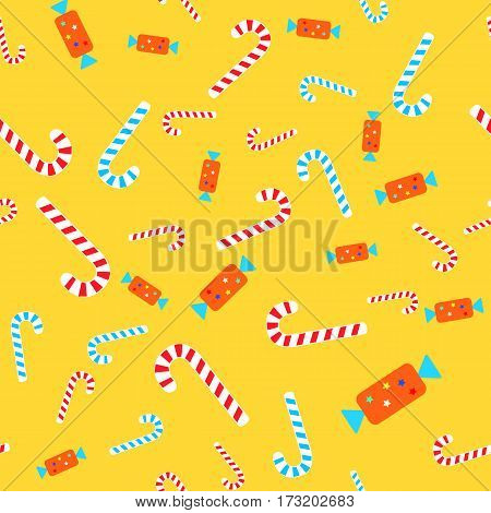 Christmas candies seamless pattern. Sweet bent striped lollipops, blue and red. Bonbon in colourful wrapper with bright stars. Cartoon design. Wallpaper design endless texture. Flat style. Vector