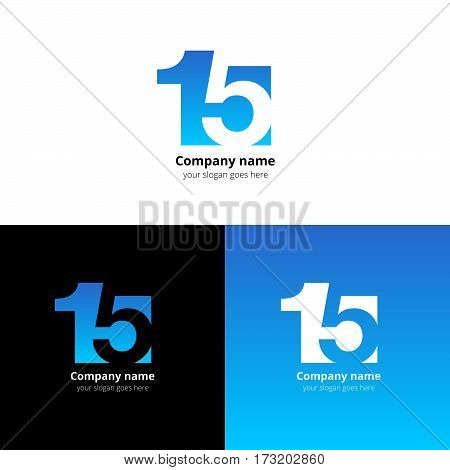 15 logo icon flat and vector design template. Monogram numbers one and five. Logotype fifteen with blue gradient color. Creative vision concept logo, elements, sign, symbol for card, brand, banners.