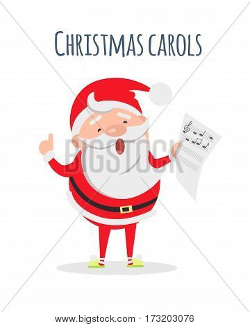 Christmas carols list in Santas hand. Santa Claus sing xmas carols. Singer actor. Merry Christmas and happy New Year concept. Winter holiday illustration. Greeting card. Vector in flat style design