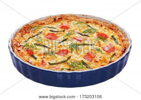 Quiche Tart With Red Fish, Close-up