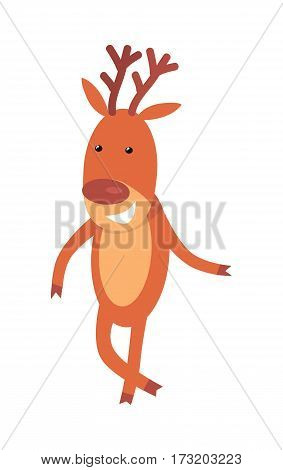 Christmas deer isolated on white. Reindeer greeting you. Smiling cartoon character in flat style design. Deer wishes Merry Christmas and Happy New Year. Cute deer posing. Vector illustration