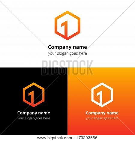 One, first number in cube logo. Top square, number one, frame, premier cube 3D, forward box, leading block line primarily geometry shape vector logo template. Gradient color symbol, icon sign, emblem.