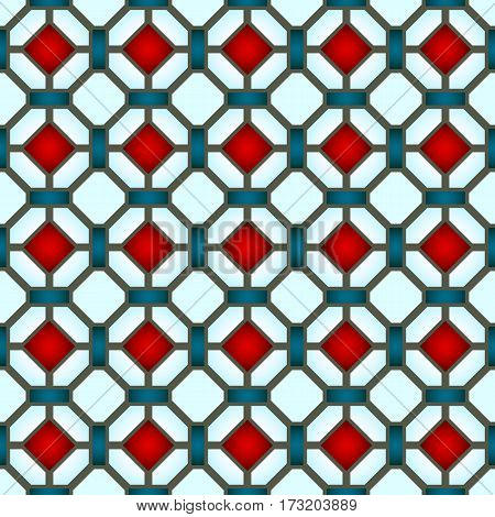 Stained-glass window colored stained glass , abstract geometric seamless pattern.