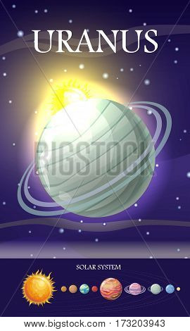Planet Uranus in solar system. Solar system with stars, Sun, Pluto, Neptune, Uranus, Venus, Mercury, Saturn, Jupiter, Mars, Earth and Moon on orbit. Planets in orbit around the sun. Set of planets