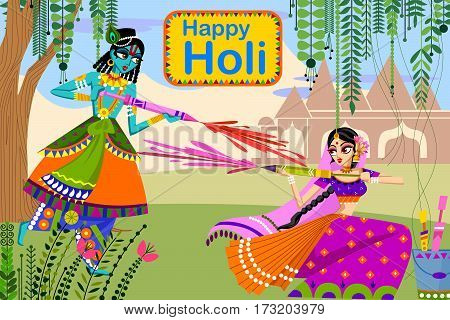 Vector design of Indian God Krishna and Radha celebrating color festival of India Holi