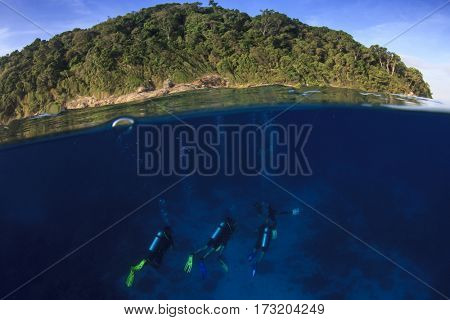 Scuba divers in ocean beside island