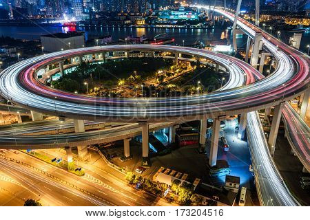 urban traffic with cityscape in city of China.