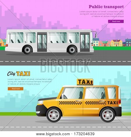 Transport. Collection of two different automobile icons. White passenger bus with two automatic doors. Fast four-wheeled mean of transportation. Taxi on road in city. Cartoon design. Vector