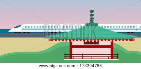 Asia vector concept. Ancient eastern architecture and modern technology contrast. Traditional japanese pagoda or buddhist temple building and hight-speed train flat illustrations. For tourism ad