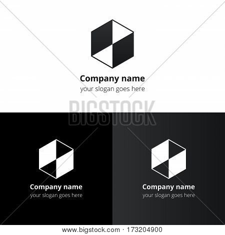 Cube with square, triangle, frame, cube 3D, box, block line, geometry shape vector logo template. Gradient color symmetric symbol, logo, icon, sign, emblem. Abstract button for company or service.