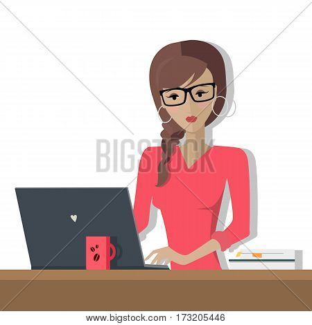 Working day. Woman planning her work for a week. Girl working with computer writing a plan of her actions. Part of series of daily routine of the week. Working hours, schedule. Vector illustration.