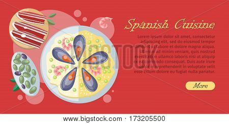 Spanish cuisine banner isolated on wooden background. Paella traditional Spanish meal with rice and seafood. Jamon dry-cured ham. Tapas appetizers, snacks. Spain food concept in flat design. Vector