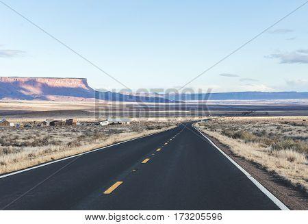 Desert Highway Landscape In Arizona