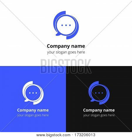 Chat, talking, discussion, social, conversation, messenger, dialog vector logo. Flat blue logo, icon, sign, emblem vector template. Abstract symbol and button for community,  company or service.