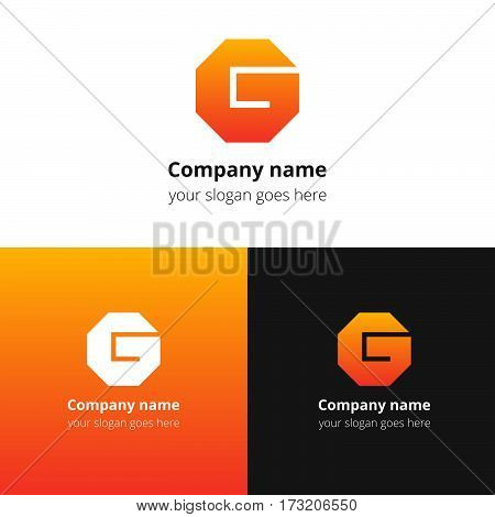 Letter G logo. Alphabet logotype vector design.Orange gradient concept G hexagon infinity loop shape.Creative vision concept logo or icon template for company, web site, banners, cards, covers, poster