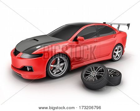 Red sport car and wheel. 3d illustration