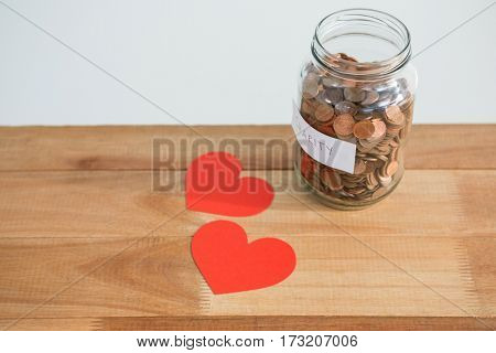 Close-up of coins in bottle and heart on table