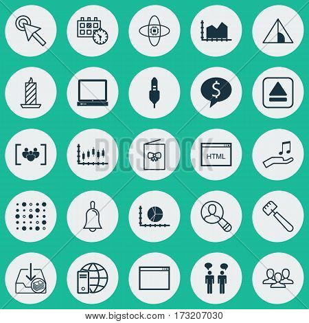 Set Of 25 Universal Editable Icons. Can Be Used For Web, Mobile And App Design. Includes Elements Such As Atomic Cpu, Program, Handbell.