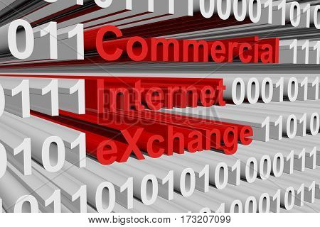 commercial internet exchange in the form of binary code, 3D illustration